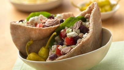 Tuna salad pita sandwiches with feta cheese