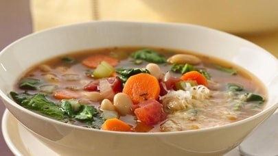 Vegetarian bean soup with greens