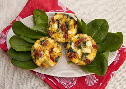 Mini Frittata with Spinach, Sun-dried Tomatoes & Goat Cheese