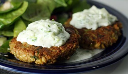 Healthified burgers with dill sauce