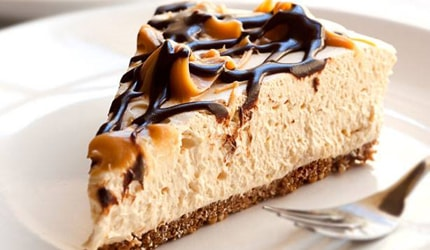 Toffee and chocolate topped cheesecake
