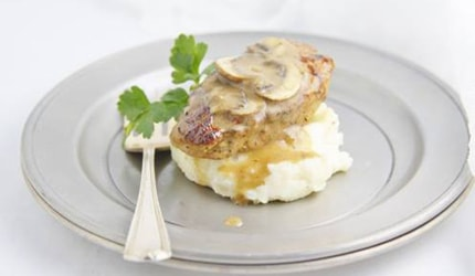 Pork medallions with portabella gravy