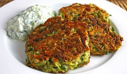 Greek Style Zucchini Fritters with Tzatziki