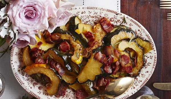 Roasted Acorn Squash with Maple-Bacon Drizzle
