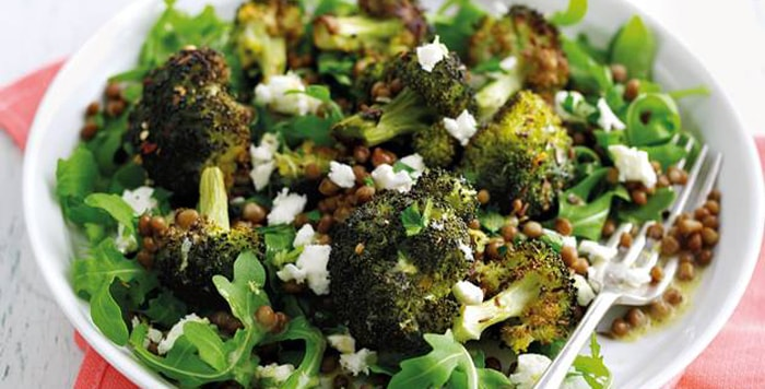 Salad: Roasted broccoli salad with feta and lentils recipe