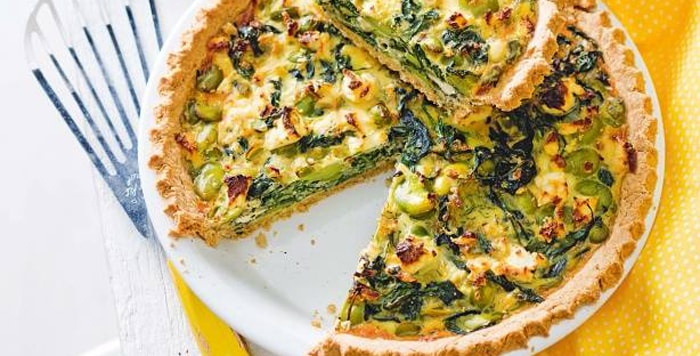 Spinach, fetta and broad bean pie